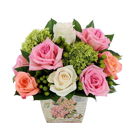Rose & Hydrangea Garden Flower Bouquet from Ingallina's nationwide flowers website
